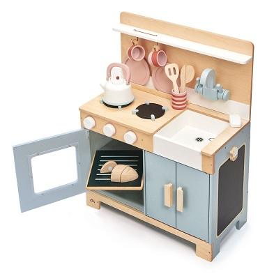 wooden play kitchen set by tender leaf toys