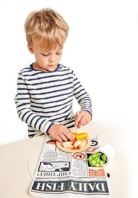 boy playing with fish and chips set