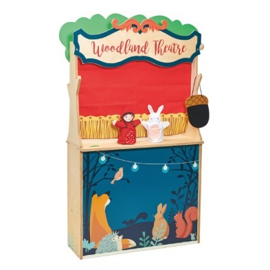 woodland stores and theatre by tender leaf toys theatre side