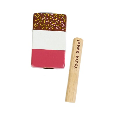 fab wooden ice lolly with message stick by tender leaf toys
