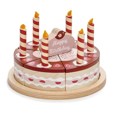 wooden chocolate birthday cake by tender leaf toys