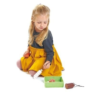 girl playing with tender leaf toys charcuterie crate toy meat tl8284