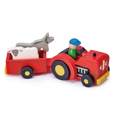 tender leaf toys wooden tractor and trailer toy