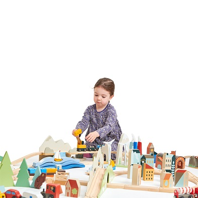 girl with train set