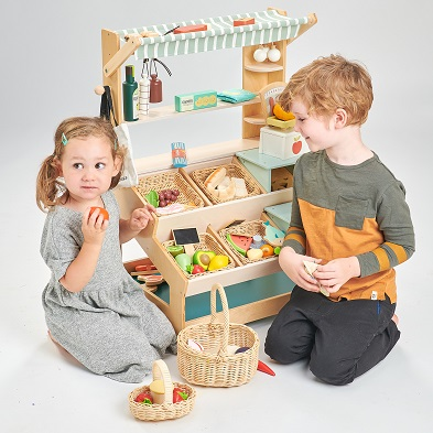 wooden toy market stall general stores by tender leaf toys