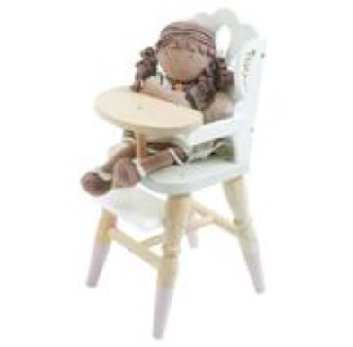 wooden girl doll in high chair
