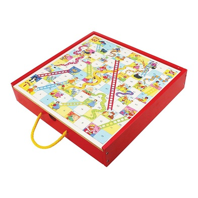 bigjigs family board games collection in red wooden box