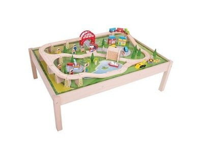 bigjigs rail services train set and table
