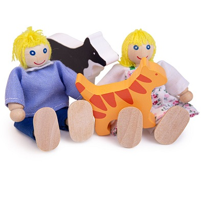 bigjigs wooden doll family with cat