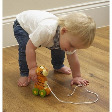 tigger pull along wooden toy by orange tree toys with toddler