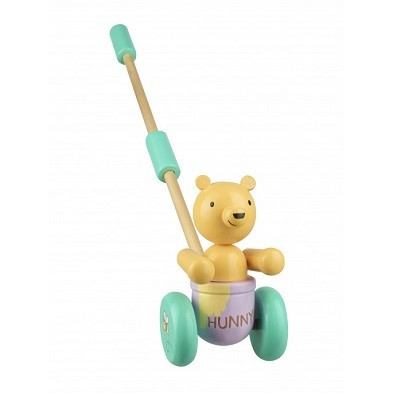 classic pooh push along wooden toy by orangetree toys