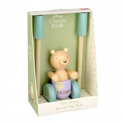classic pooh push along wooden toy by orangetree toys boxed
