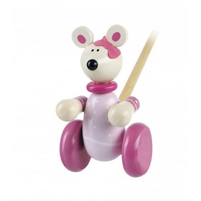 pink mouse push along wooden toy by orange tree toys