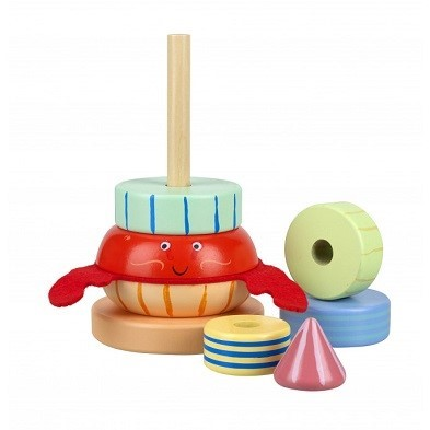 Hermit crab stacking toy wooden pieces by orange tree toys
