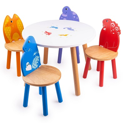 kids round dinosaur Table with chairsby Tidlo