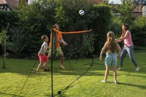 badminton volleyball and tennis play set by traditional garden games