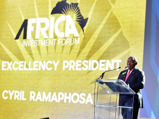 South African President Cyril Ramaphosa addresses the inaugural Africa Investment Forum