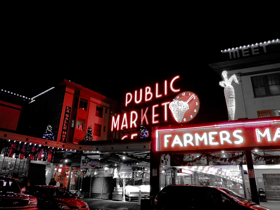 Pike Place Market sign at night
