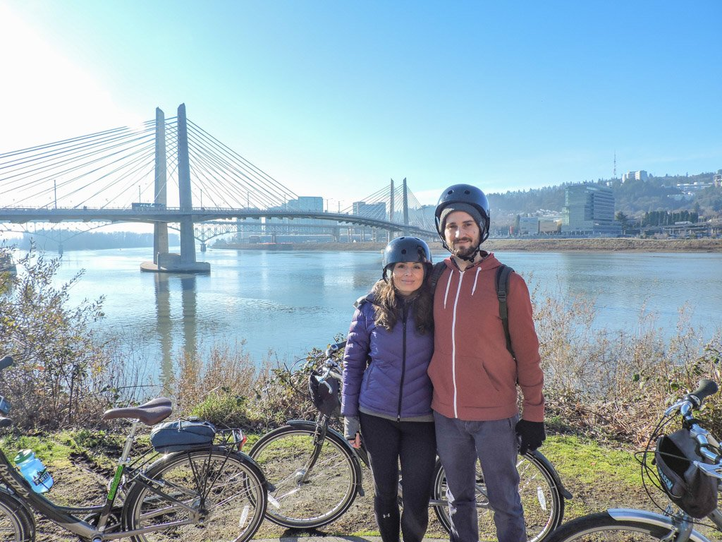 Couple cycling in Portland Oregon