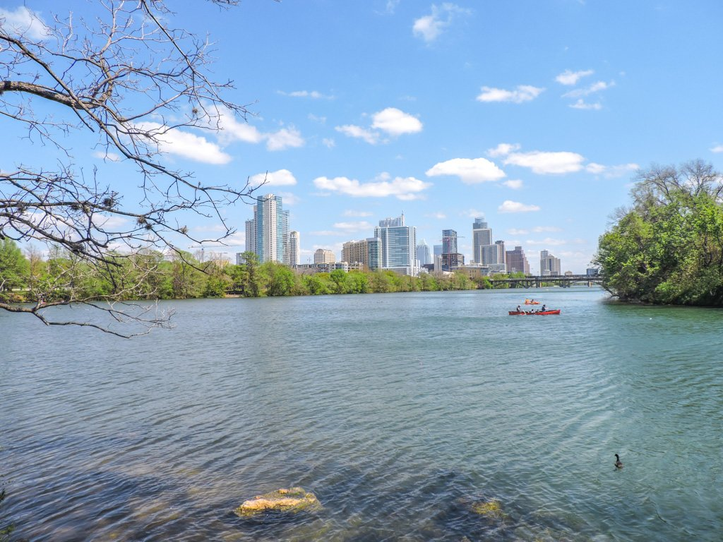 Lou Neff Point, Ladybird Lake, Austin kayaks skyline
