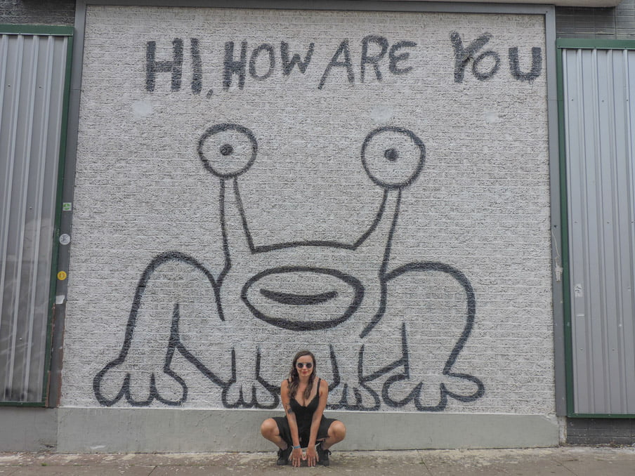 Hi How Are You Mural Austin Frog and Gemma