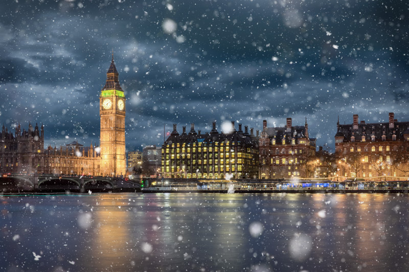 Big Ben London skyline with snow