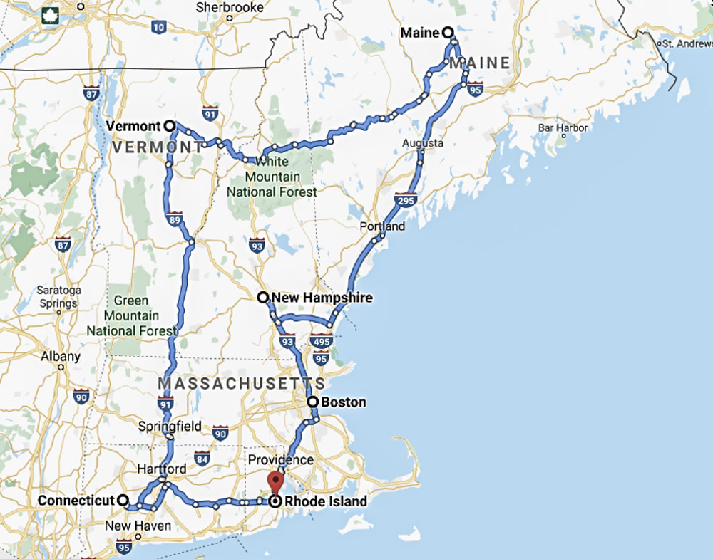 New England Road Trip Itinerary Map