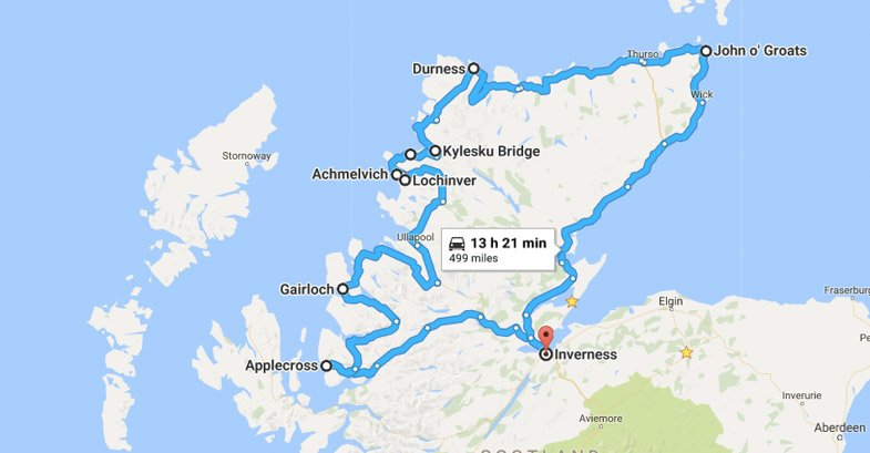 North Coast 500 Itinerary Route