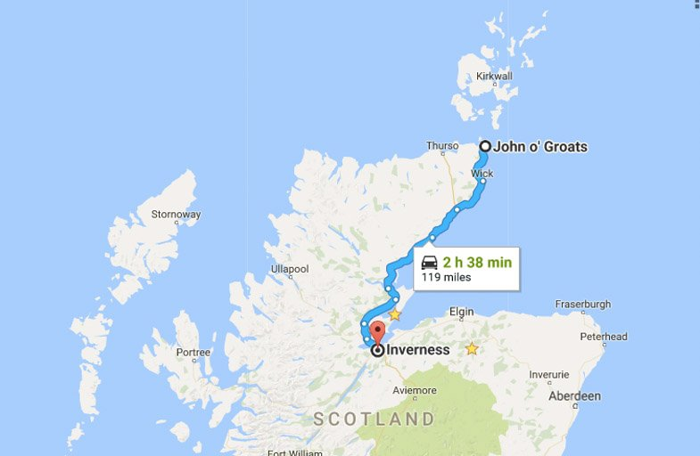 North Coast 500 Itinerary Route John o Groats to Inverness