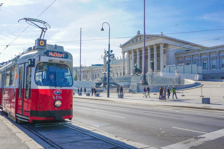 Vienna Parliament Building and tram