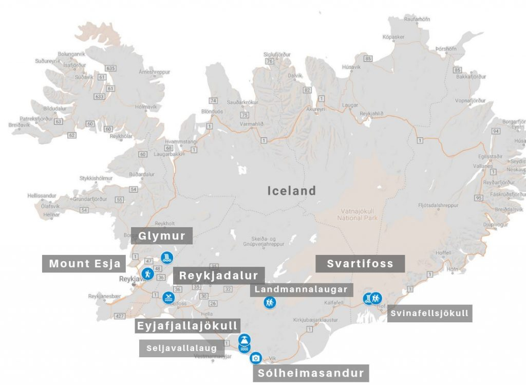 Iceland hikes map