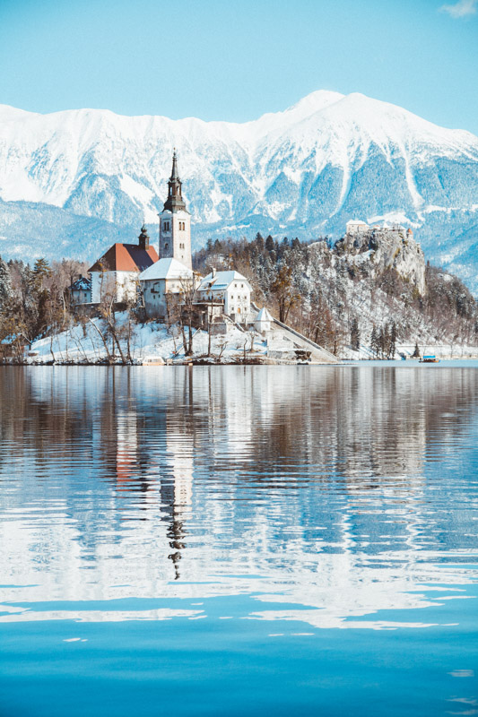 Bled Church with snow