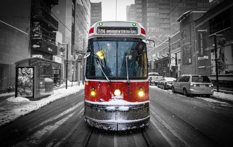 Toronto street car in snow