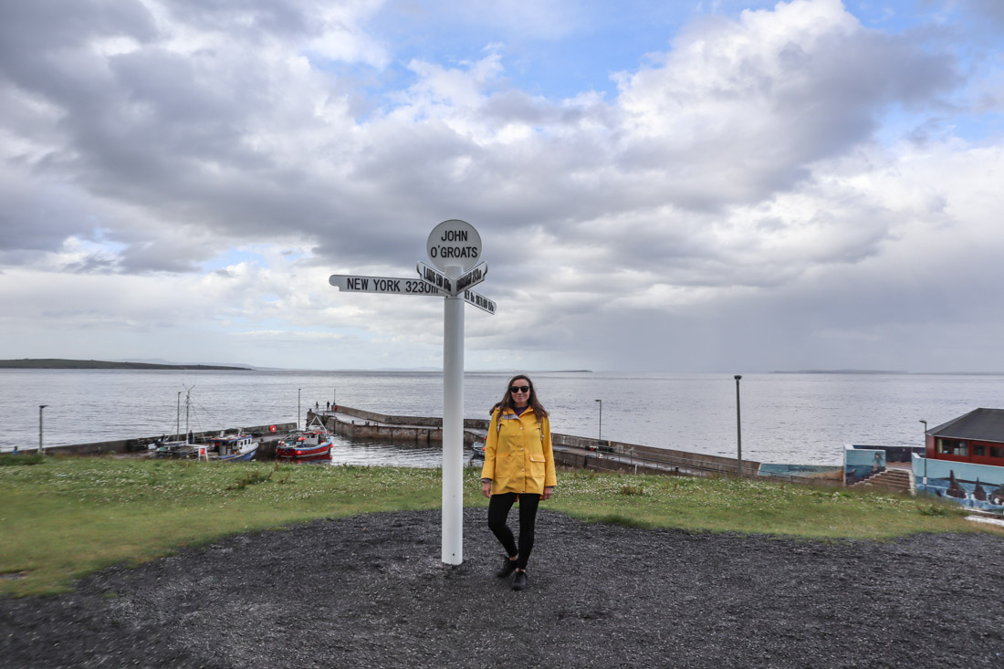 John o Groats signpost Gemma North Coast 500 Scotland_