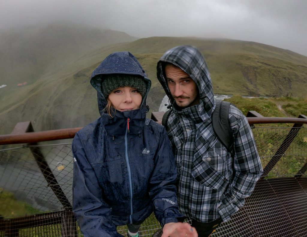 Rain Iceland hike. Mountain Equipment jacket, hat. Gemma and Craig._