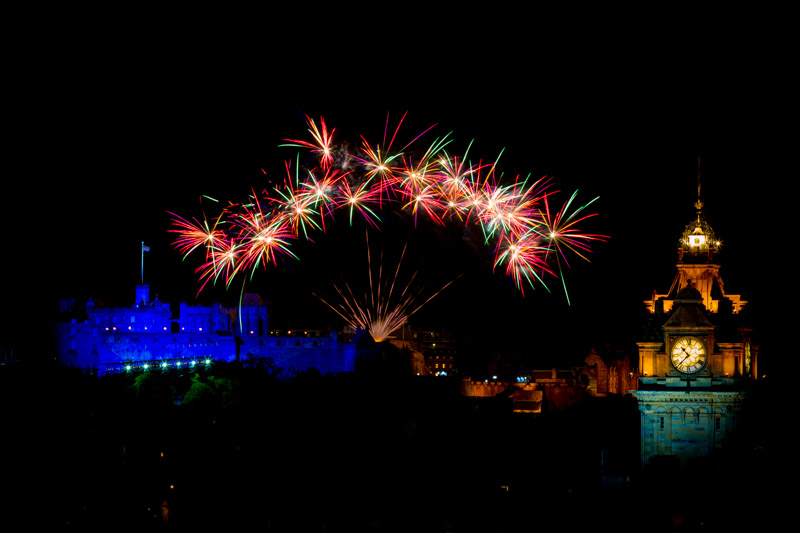 Edinburgh Castle with fireworks_