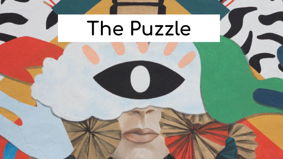 The Puzzle game for Zoom and other conference calls. Image shows an eye and lots of different colors.