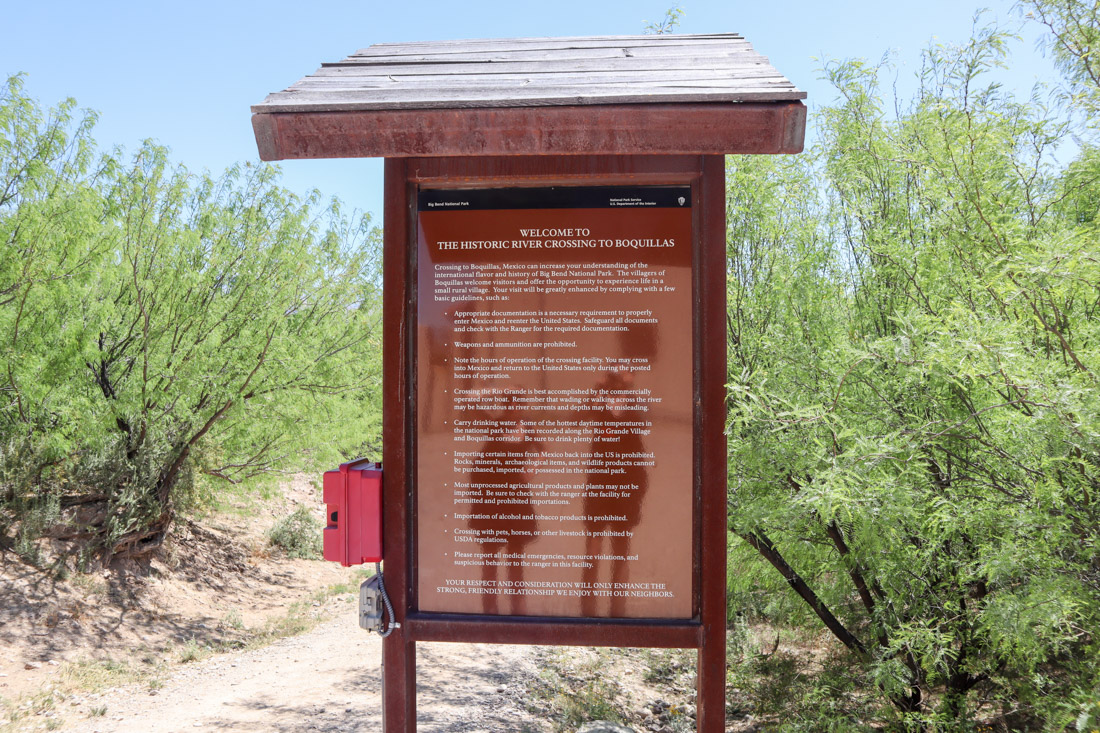 Big Bend National Park Boquillas Crossing Sign