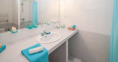 LED illuminated mirrors, bathroom, towels, lights.