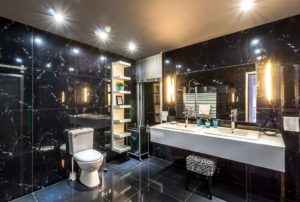 LED illuminated mirror, bathroom, contemporary.