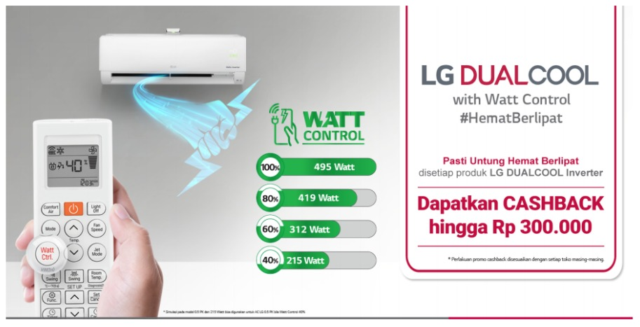 Detail of AC LG DUAL COOL with Watt Control