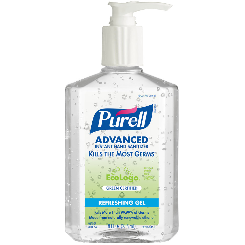 Purell 9691 12 Advanced Green Certified 8 Oz Gel Instant Hand