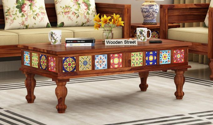 Buy Boho Coffee Table Teak Finish Online In India Wooden Street