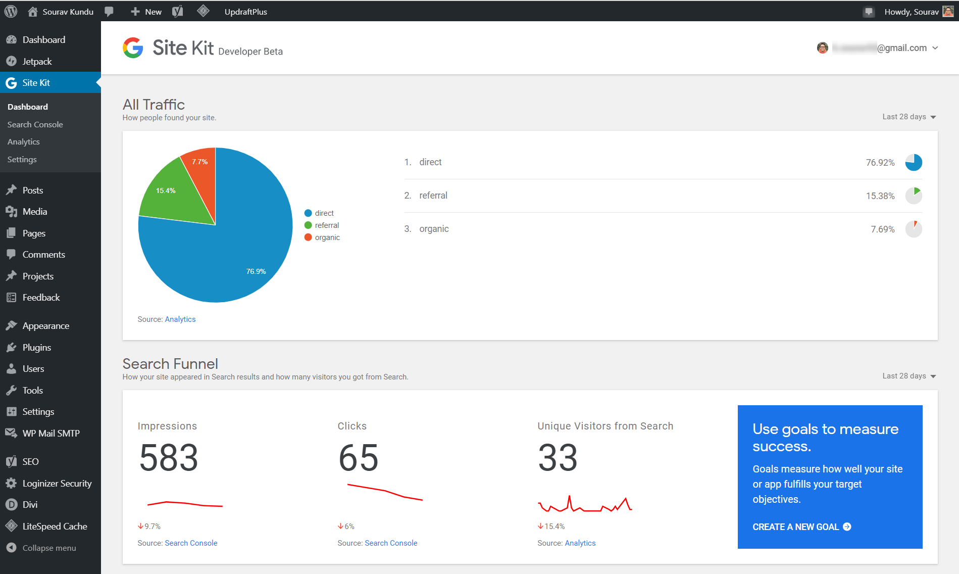 Configuring Google Analytics with Site Kit dashboard