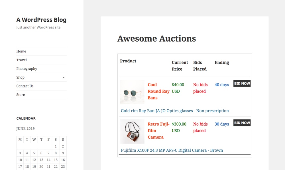 Ultimate Auction Main Page