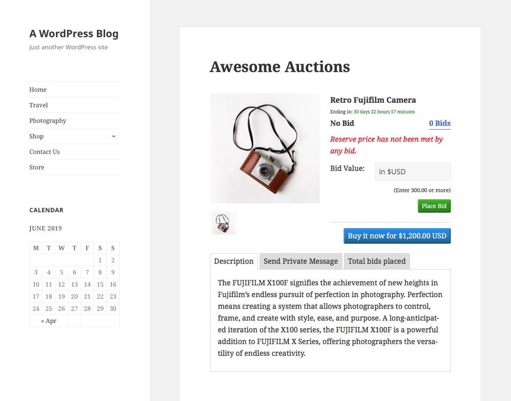 Ultimate Auction Item Page