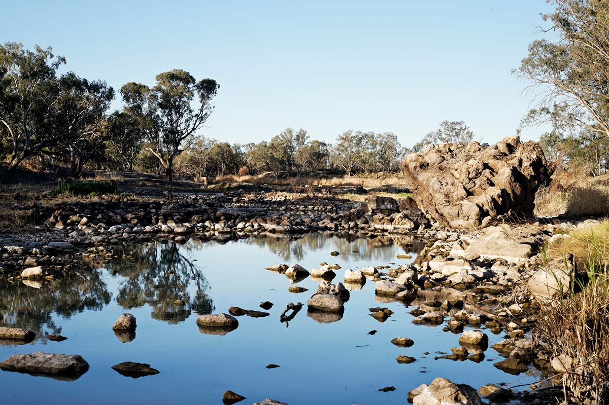 Traditional Aboriginal fish traps in Brewarrina (Ngemba Country), also known as Baiame's Ngunnhu.