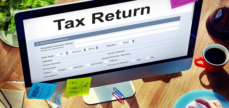 Tax return filling out on a computer