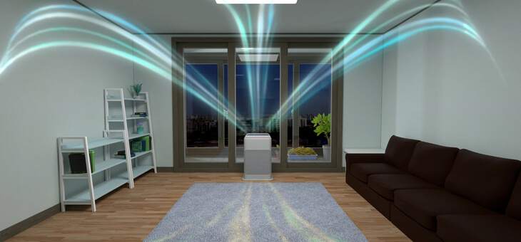 air purifier filling a room