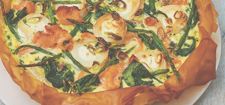 Smoked Salmon, Goats' Cheese and Asparagus Tart